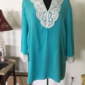 JM Collection Turquoise Tunic Size 14